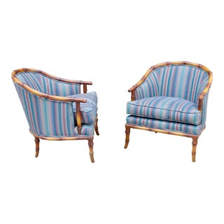 Vintage Faux Bamboo Hollywood Regency Barrel Club Chairs - a Pair For Sale