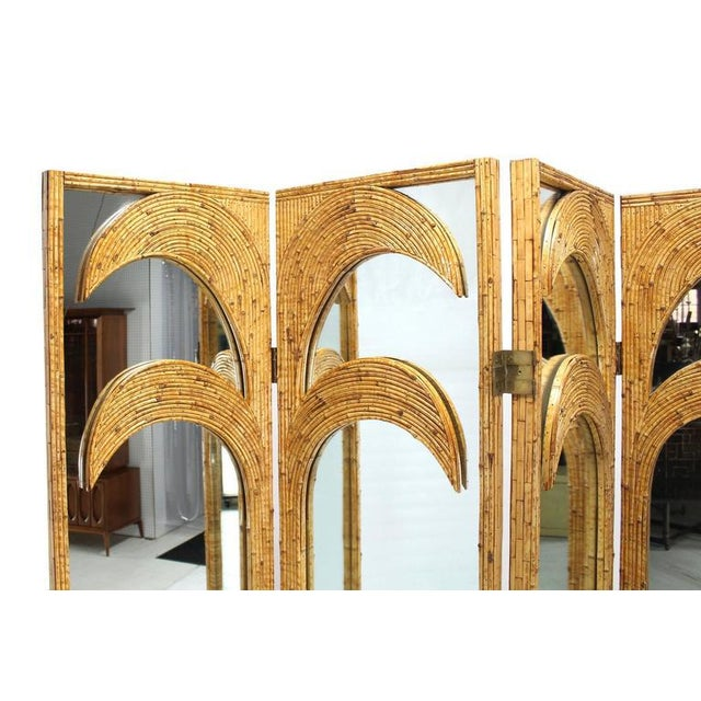 Boho Chic Figural Burnt Bamboo Large Folding Screen Room Divider For Sale - Image 3 of 6