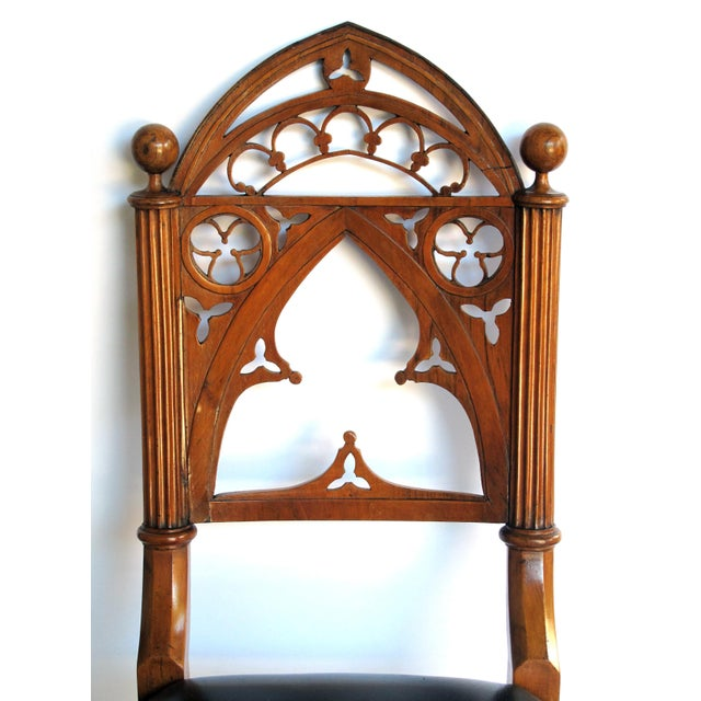 Gothic A handsome and well-carved set of 4 continental gothic revival klismos-form walnut side chairs; possibly Austrian or German For Sale - Image 3 of 8