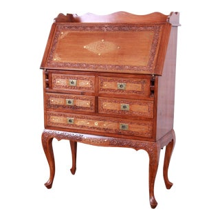 Ornate Carved Elm Wood and Brass Inlay Chinoiserie Drop Front Secretary Desk For Sale