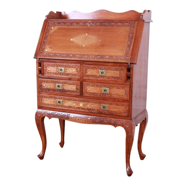 Ornate Carved Elm Wood And Brass Inlay Chinoiserie Drop Front