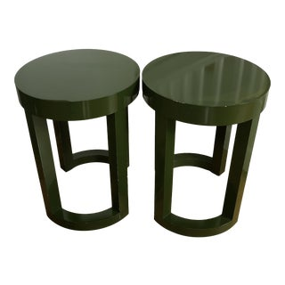 Modern Parsons Green Lacquer Side Tables - A Pair For Sale