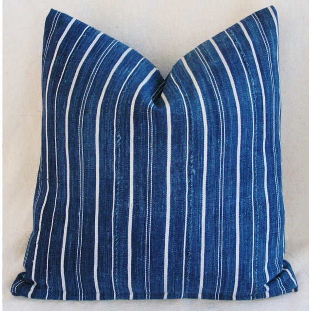 Woven Indigo Blue Stripe Batik Down Feather Pillow - Image 2 of 6