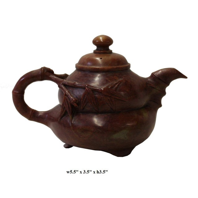 Stone Chinese Brown Red Soap Stone Carved Teapot Display Art For Sale - Image 7 of 7