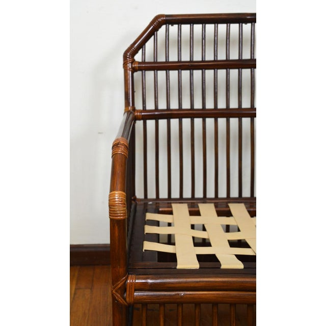 Chestnut 1980s Vintage Rattan Settee in the Manner of Willow and Reed For Sale - Image 8 of 13