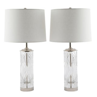 Olle Alberius for Orrefors Hand-Cut-Crystal Table Lamps, Circa 1970s For Sale