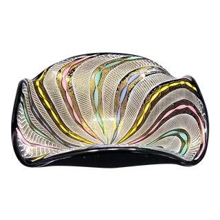 1950s Murano Glass Filigrana Bowl by Fratelli Toso