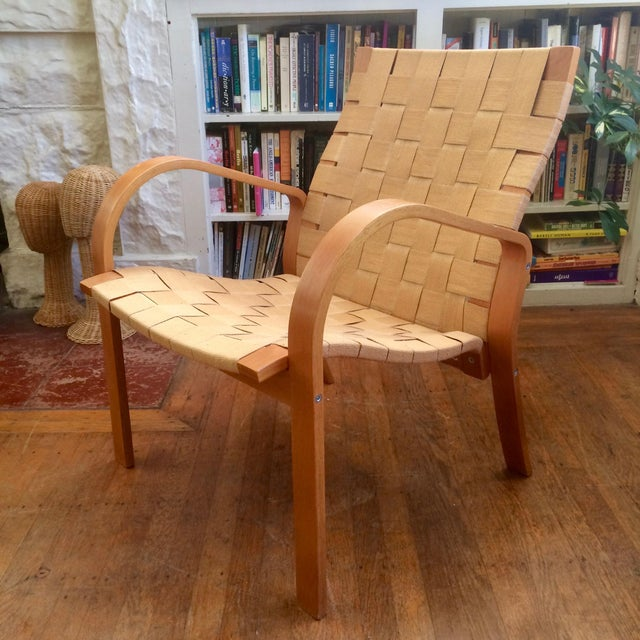 1990s Vintage Bruno Mathsson Style Molded Plywood Armchair For Sale - Image 9 of 9