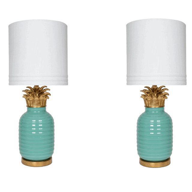 Teal Hollywood Regency Pineapple Lamps - A Pair - Image 1 of 4