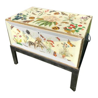 Flora and Fauna Antique Metal Decoupage Trunk on Stand For Sale