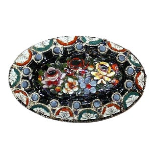 Italian Micro-Mosaic Oval Brooch - Vintage Brooch - Floral Mosaic Brooch - Gifts for Her - Italian Jewelry - Italian Brooch For Sale