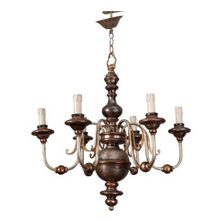 Silver Leaf Wood and Iron Six Arm Italian Chandelier