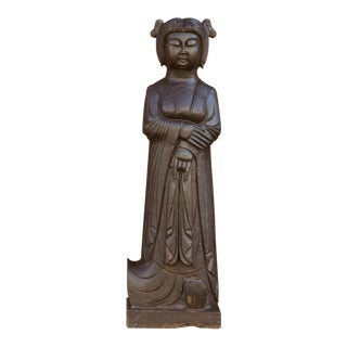 Handcarved Black Stone Imperial Statue For Sale