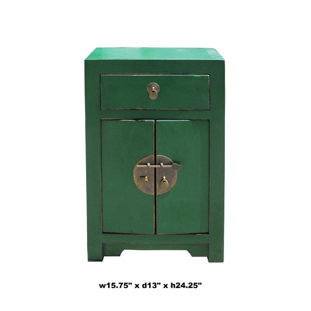 Chinese Oriental Distressed Green Lacquer Side End Table Nightstand For Sale In San Francisco - Image 6 of 7