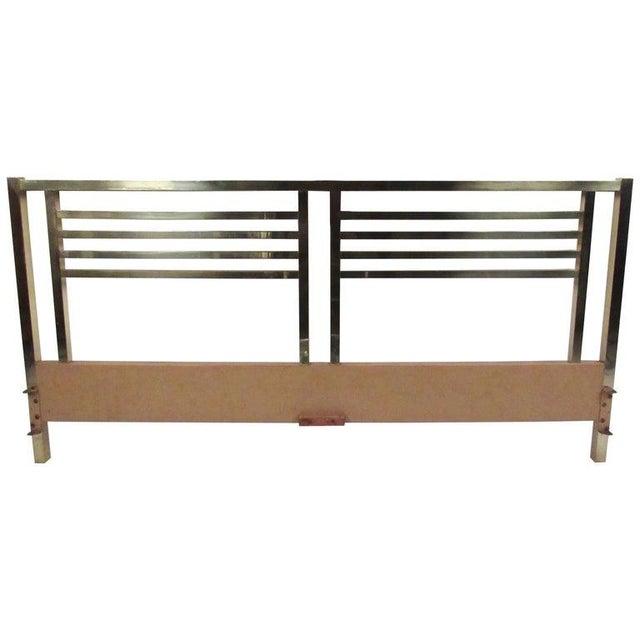 Vintage Modern King-Size Brass Bed Headboard For Sale - Image 11 of 11