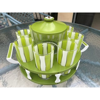 Vintage Mid-Century Modern Bar Glassware Ice Bucket and Tray Set Preview