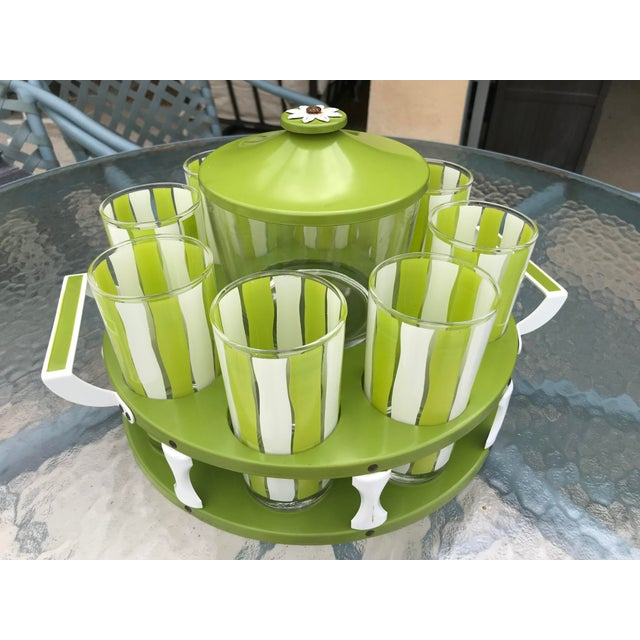 Amazing vintage set of eight glasses, glass ice bucket w/lid served on a metal tray. Be the envy at your Summer bbq with...