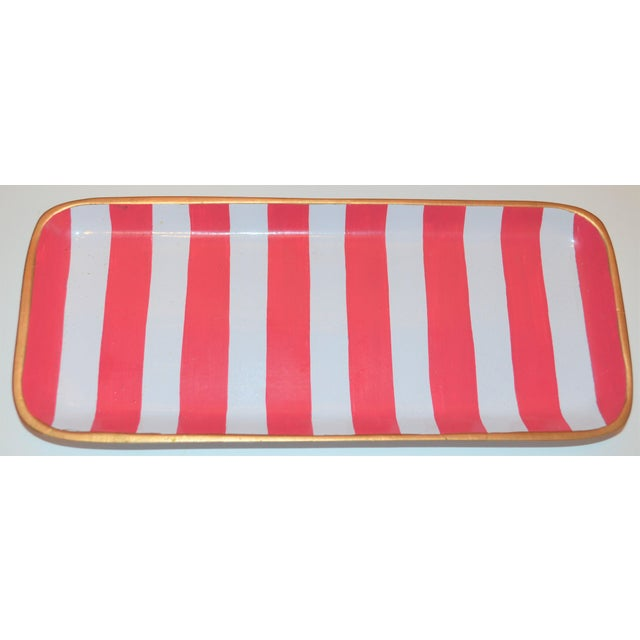 2010s Dana Gibson Melon and White Striped Trinket Tray For Sale - Image 5 of 13