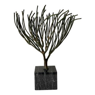 Mid Century Modern Bronze Tree on Stone Pedestal For Sale