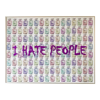 """I Hate People"" Framed Mixed Media Painting by Italian Pop Artist For Sale"