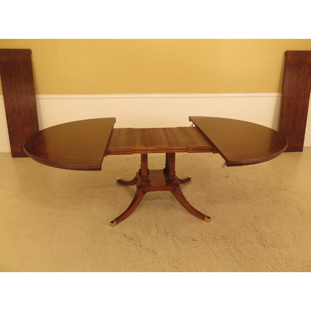 Brown Burl Walnut Round Dining Room Extension Table For Sale - Image 8 of 13