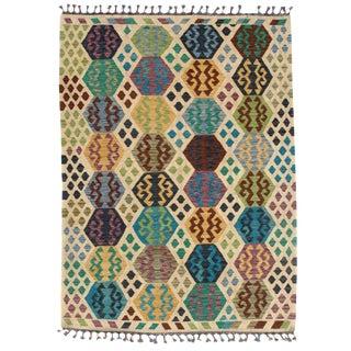 Afghan Kilim Handspun Wool Rug - 5′10″ × 7′10″ For Sale