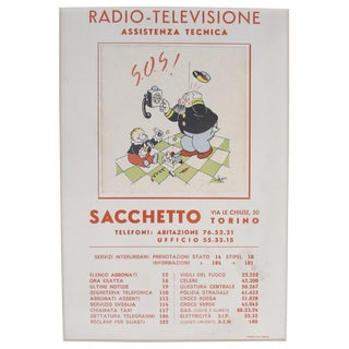 1930s Italian Art Deco Matted Advertisement, Radio Televisione For Sale