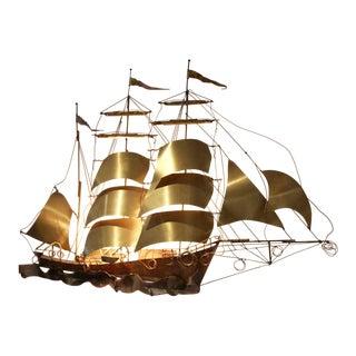 Daniel d'Haeseleer Sailing Vessel Wall Light Sculpture For Sale