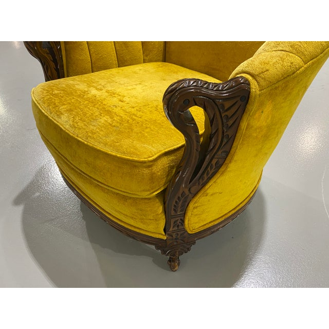 1970s Vintage Yellow Channel Barrel Back Velvet Swan Carved Chair For Sale - Image 9 of 9