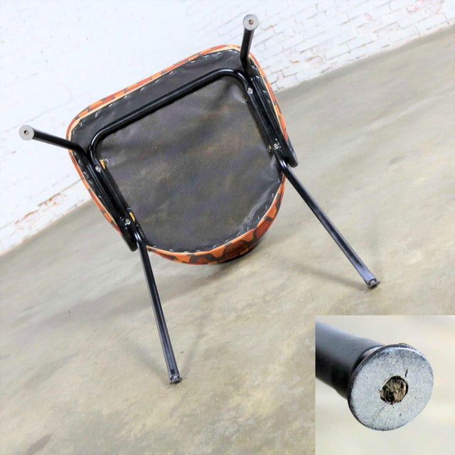 Mid Century Modern Black Bent Steel Tube Armchair With New Orange Upholstery For Sale - Image 12 of 13