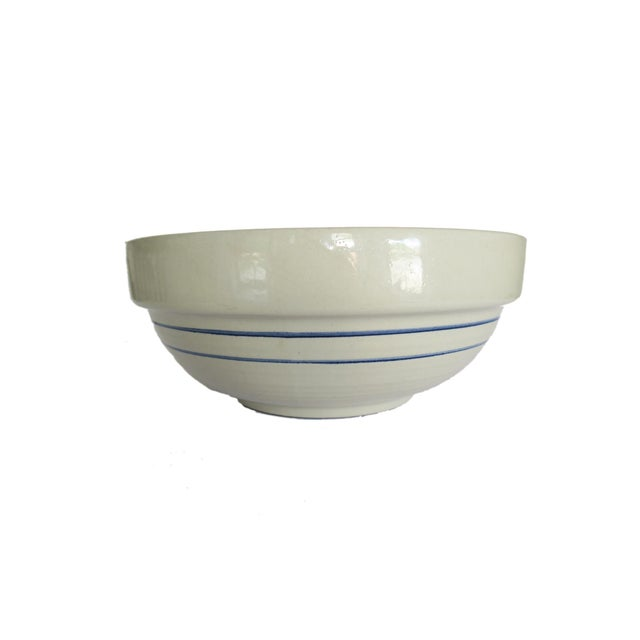 Marshall Potter Vintage Marshall Pottery Large Blue and White Striped Stoneware Pottery Crock Bowl For Sale - Image 4 of 5