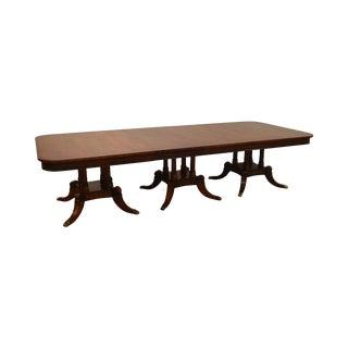 Henredon Regency Style 18' Banded Mahogany Triple Pedestal Dining Banquet Table For Sale