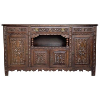 19th Spanish Carved Walnut Cupboard or Buffet For Sale