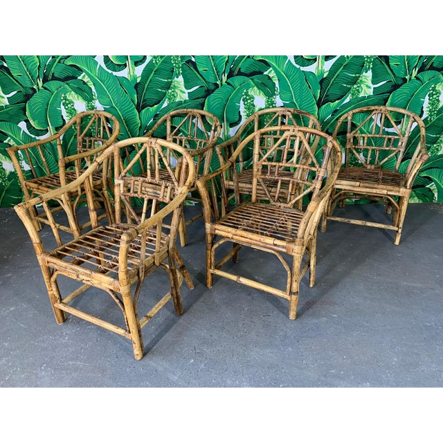 Brighton Style Pavilion Rattan Dining Chairs - Set of 6 For Sale - Image 9 of 9