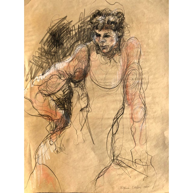 Vintage charcoal drawing of a woman by artist Virginia Elliott. In shades of brown and black. Stunning and in a large...