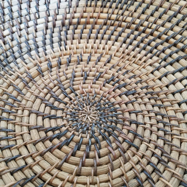Rattan Coiled Basket Bowl Wall Art For Sale - Image 4 of 6