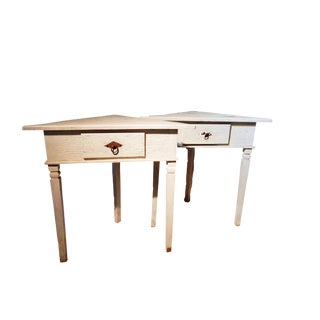 Country Rose Wood Corner Tables - a Pair For Sale