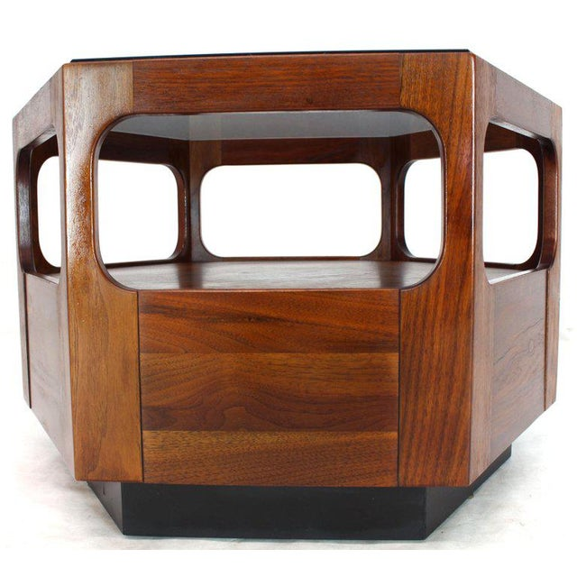 Glass Solid Oiled Walnut Fitted Smoked Glass Top Hexagon Center Side End Table For Sale - Image 7 of 8