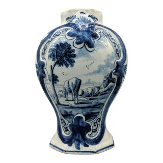 18th Century Dutch Delft Pastoral Cattle Vase For Sale