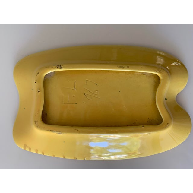 1960s Mid Century Splatter Glaze Bean Shape Ashtray For Sale - Image 5 of 6