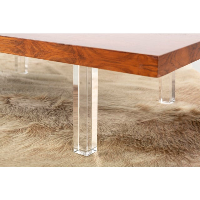 Wood Milo Baughman Rosewood and Lucite Coffee Table For Sale - Image 7 of 10