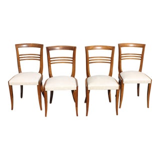 1940s Vintage French Art Deco Solid Mahogany Dining Chairs - Set of 4 For Sale