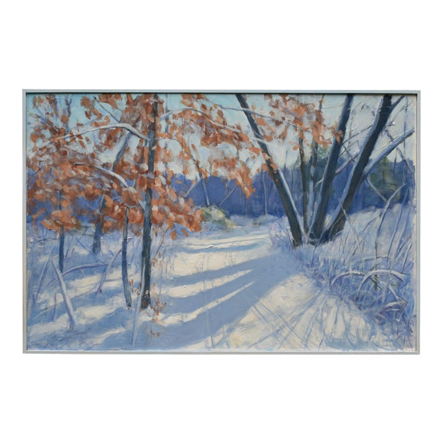 """""""Snowy Path by the Beech Tree"""" Contemporary Acrylic Painting by Stephen Remick, Framed For Sale"""