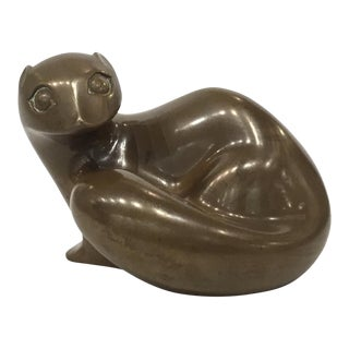 Vintage Mid-Century Modern Bronze Mongoose Sculpture For Sale