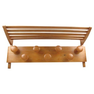 Large 1950s French Midcentury Wall Mounted Maple Wood Coat Rack and Storage For Sale