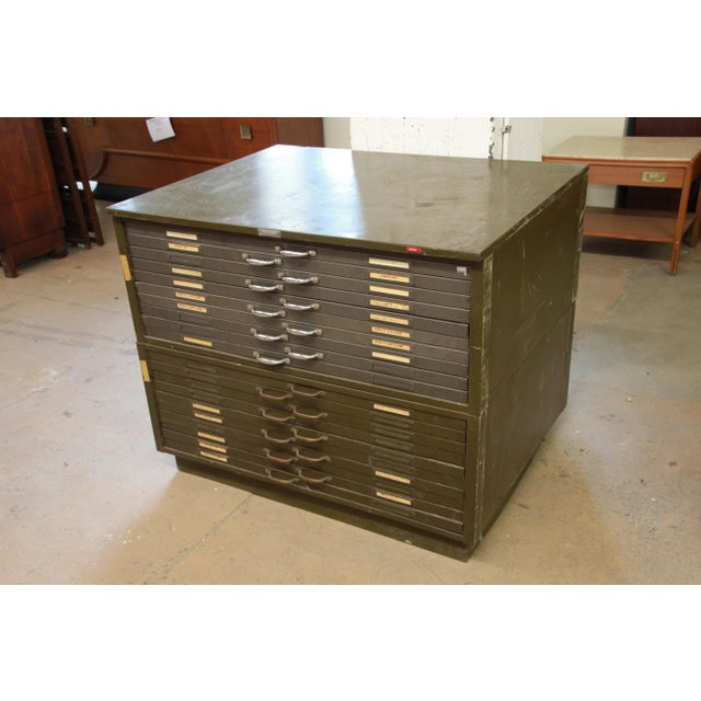 Vintage Industrial Metal 20-Drawer Blueprint Flat File by Hamilton Manufacturing Co. For Sale - Image 10 of 10