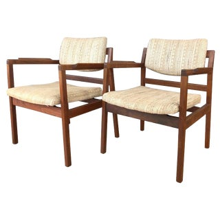 Pair of Jens Risom Walnut Arm Chairs Circa 1960s For Sale
