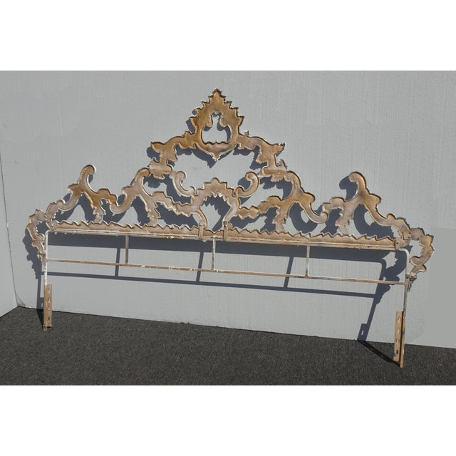 Vintage French Provincial Louis XVI Rococo White Metal King Headboard For Sale - Image 11 of 12