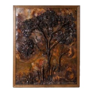 Framed Cut Copper Tree by J. Somper circa 1975 For Sale