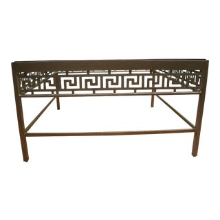 Italian-Made Greek Key Square Glass and Metal Coffee Table For Sale